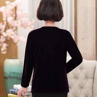 维迩旎 2019春夏季新品女装中老年女装假两件针织上衣40-50岁妈妈T恤打底衫 GZJXLY1659 红色 4XL