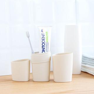 耶洛谜(yeluomi)牙具盒简约旅行便携式漱口杯牙具收纳盒套装2合1白色YM190310