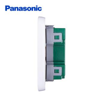 松下( Panasonic)开关插座面板 四开双控开关面板 4开双控墙壁开关 格彩系列86型 WPC508 白色