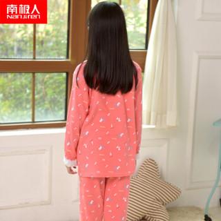 南极人(Nanjiren)儿童家居服男童女童短袖睡衣夏季薄款中大童衣服可爱卡通款 女童短袖西瓜红小狗 120