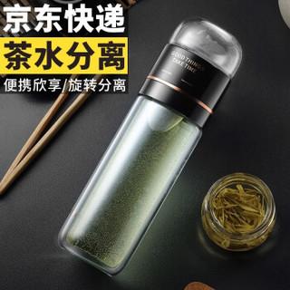 物生物(RELEA)玻璃杯 茶水分离杯男女泡茶杯创意便携水杯花茶杯子过滤随手杯 茶时琉璃黑 300ML