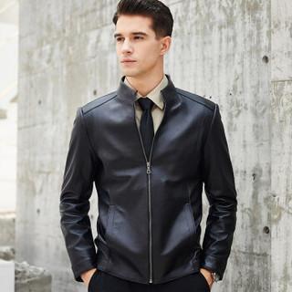 比菲力(BEVERRY)2018秋季新款立领绵羊皮衣男海宁皮夹克修身绵羊皮外套男士 黑色 4XL
