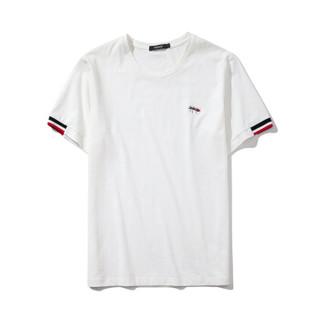 千纸鹤 25hx71 男士短袖2018新款t恤青年T恤衫蚂蚁刺绣 03A白色 180/96A(XL)
