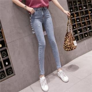 新薇丽(Sum Rayleigh)破洞铅笔裤 2019新款时尚百搭高弹显瘦气质牛仔裤 AZJZ8830 浅蓝色 S
