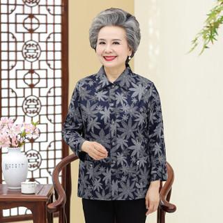 BANDALY 2019春季新品韩版女装中老年女装衬衫妈妈装打底衫奶奶装外套 GZJS1066 蓝枫叶 XXL