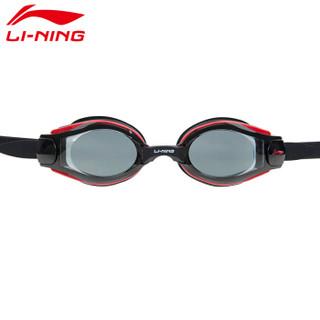李宁 LI-NING 泳镜男女高清防雾游泳眼镜潜水防水成人儿童近视泳镜 LSJN558-5黑色近视550度