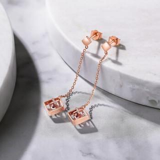 周六福珠宝 FIND ME系列女款18K金钻石碧玺耳饰耳线 多彩KIBA094117 真