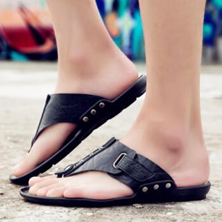 GOLDPOOL 高尔普 男士潮流透气户外休闲沙滩人字凉拖鞋 19158GEP828 黑色 43