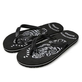 GOLDPOOL 高尔普 男士潮流防滑户外休闲沙滩人字夹脚拖鞋 19158GEPM06 黑色 44
