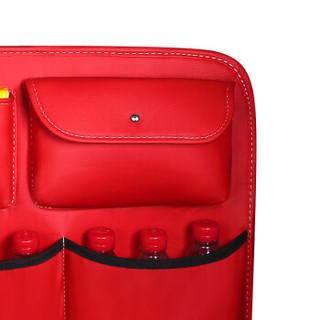 福车坊 汽车后备箱收纳挂袋座椅背置物袋SUV车载多功能储物网兜车内用品后挂皮革红色