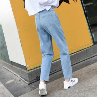 新薇丽(Sum Rayleigh)牛仔裤女宽松2019春款新品 高腰老爹裤韩版阔腿直筒裤子 KXLF9815 浅蓝 L