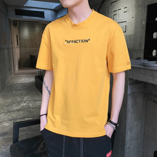 太子龙 TEDELON短袖T恤男2019夏季新款圆领休闲修身简约打底衫男士衣服男装 9168 黄色 L