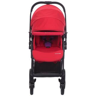 maxi cosi迈可适 婴儿推车超长座椅高景观可坐可躺单手秒收全覆盖式顶棚轻便折叠便携式童车(桑巴红)Lyra莱雅