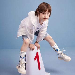 一贝皇城童装儿童夏季男童外套薄款2019新款韩版皮肤衣潮衣1119206011 浅蓝色110cm