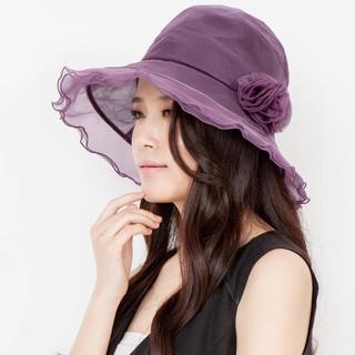 乐为 comme lavie 乐为女士真丝遮阳帽子春天夏季桑蚕丝帽春天淑女帽15FB209 紫色 均码