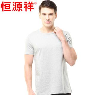 恒源祥 男士背心男纯棉短袖T恤运动弹力修身男式打底汗衫 白色 175/100