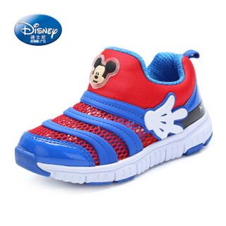 迪士尼 DISNEY 儿童运动鞋男网面镂空女童鞋毛毛虫鞋M381118 宝蓝/红 31