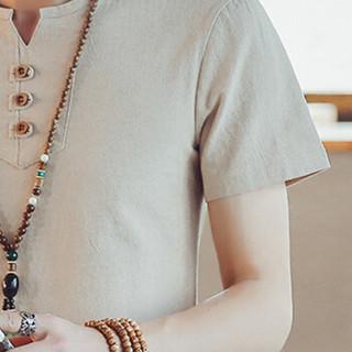 金盾(KIN DON)短袖T恤 2019夏季新款男士时尚百搭V领短袖T恤A082-T187卡其色5XL