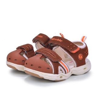 基诺浦机能鞋夏款1-5岁宝宝凉鞋男童女童学步鞋童鞋TXG835 棕色/米色 12