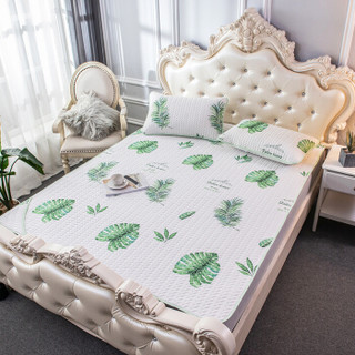 九洲鹿 凉席家纺 仿天丝空调冰丝席三件套 双人卡通席子 凉席折叠软席 1.5米床