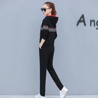 欧偲麦 卫衣女连帽休闲套装女士宽松运动两件套2019春季女装时尚外套百搭 XTD-60020 黑色 3XL