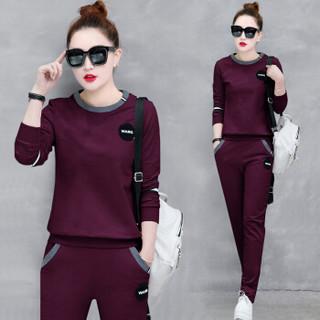 AUDDE 2019春季新款女装新品卫衣女运动服套装休闲跑步时尚韩版长袖两件套潮 zx2A001-190 墨绿色 M