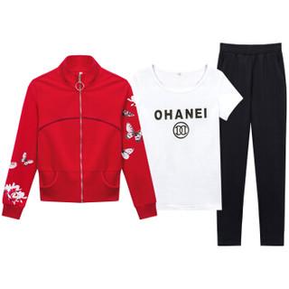 尚格帛 2018秋季新品女装卫衣女短袖T恤开衫外套休闲小脚裤三件套装女 zx1AF11-017GBTZS 红色 XL