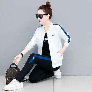 BANDALY 2019春夏季新款女装新品卫衣女运动服套装时尚大码韩版棒球领卫衣三件套 zx3E05-235 牛仔蓝色 XXL