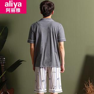 阿丽雅睡衣男士纯棉夏季薄款短袖短裤全棉学生情侣睡衣女士家居服套装ALY20111JD-11 1901男印花灰色短袖 XL