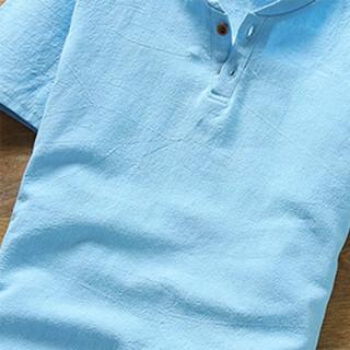 北极绒(Bejirong)亚麻T恤 2019夏季新款体恤半袖中国风透气棉麻t恤短袖男 T202 天蓝色 L