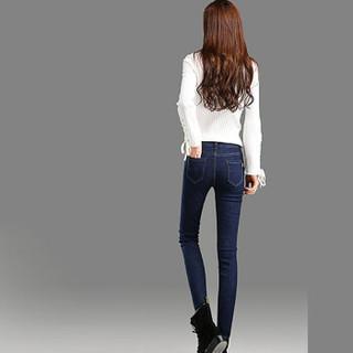 米兰茵 MILANYIN 女装 牛仔裤女2019新款春长裤紧身小脚裤韩版铅笔裤子女 MLYH503 蓝色 30