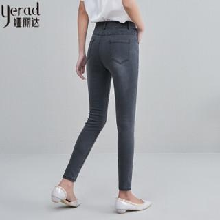 娅丽达女裤2019夏季新款黑色牛仔裤女紧身显瘦弹力铅笔小脚裤薄款I2151 黑色A2 26