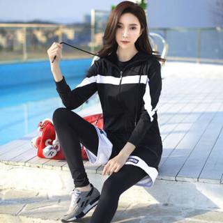 朵彩 2019新款网红款速干显瘦运动服四件套 专业健身房跑步瑜伽服套装 黑色+白色 2XL