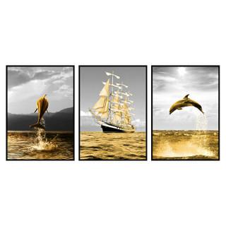 美誉度   装饰画   欧式挂画   沙发客厅背景墙壁画  简欧北欧美式风格墙画  渔船三联幅 50*70