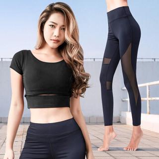 范迪慕 瑜伽服套装女两件套长袖透气速干跑步健身服运动套装 黑色-短袖+九分裤两件套-XL