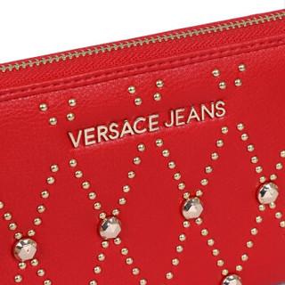 VERSACE 范思哲 奢侈品 19春夏新款 女士红色聚酯纤维铆钉长款钱包钱夹 E3VTBPE3 70883 500
