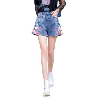 BANDALY 2019夏季新品女装牛仔裤刺绣哈伦短裤休闲宽松时尚文艺短裤 REBydlxb-BFB1038 灰色 26