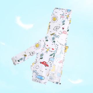 纤丝鸟 TINSINO 自营童装2019夏季新款男童防晒衣女童外套婴儿衣服 手绘一家人白色 90