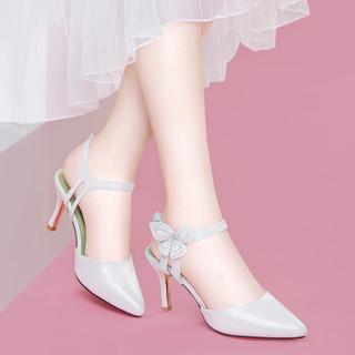 LAIKAJINDUN 莱卡金顿 尖头细跟低帮一字式扣带防水台女凉鞋 6245 白色(跟高7CM) 38