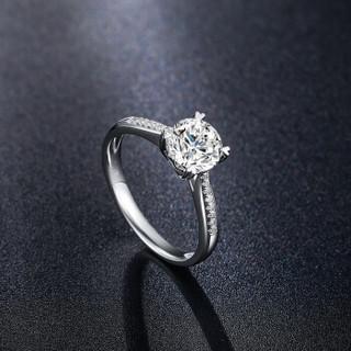 鸣钻国际 誓言 50分钻戒女 PT950铂金白金钻石戒指结婚求婚女戒 情侣钻石对戒女款 F-G/SI 18号