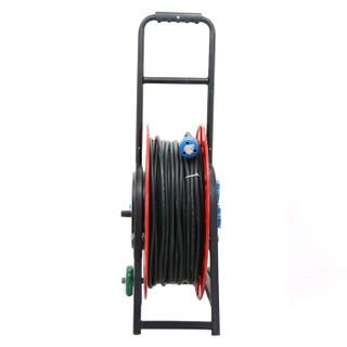 野狼YELANG 100米 2*2.5平车轮式工程电缆线盘 工程电线卷线盘排插线轴工地排插线板 YL-50CBS-04100定制