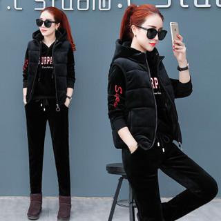 BANDALY 2018冬季新款女装新品卫衣女休闲运动套装韩版加绒加厚卫衣三件套 zx1BF28-301 黑色 L