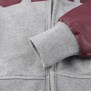 Gap旗舰店女装拼接棒球服卫衣开衫444562 2018新款冬装女士连帽logo夹克 酒红色 XXS