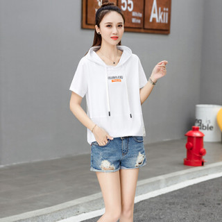 莉夏乐 2019夏季新品女装T恤女短袖韩版女装宽松休闲体恤短款上衣 HZ5052-1090 白色 M