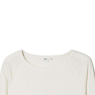 Gap旗舰店 女装加绒打底卫衣350905 女士通勤圆领内搭套头上衣 雪顶白 XS
