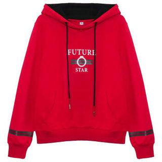 仙丫 2019春季新款女装新品卫衣女长袖少女开学季学生装上衣撞色连帽显瘦外套 HZ5030-0905 红色 M