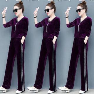 AUDDE 2019春季新款女装新品卫衣女两件套时尚休闲运动V领金丝绒阔腿裤套装 zx3E05-154 黑色 M