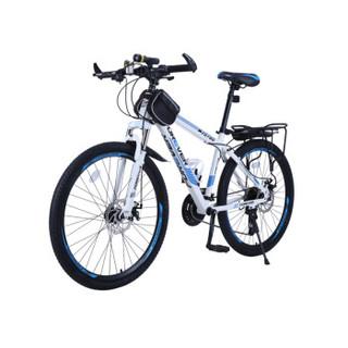 永久 FOREVER 26吋一体轮山地自行车/避震前叉双碟刹/FD780男女式学生单车 24速一体轮钢架白蓝色
