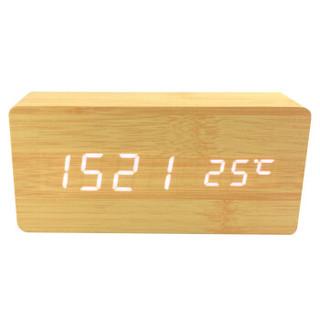 创翼(INCV )学生儿童创意木质闹钟卧室静音夜光时尚简约电子床头座钟个性时钟 蓄电版音乐款竹木白字