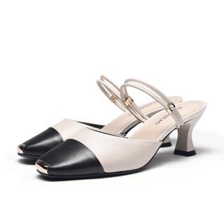 Fuguiniao 富贵鸟 粗跟女凉鞋包头欧美潮一字扣带时尚休闲百搭K99G122C 黑/米白 39